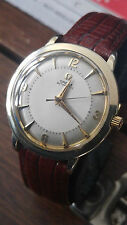 ELEGANT VTG PAN SHAPED CASE 1957's OMEGA AUTOMATIC Ω 500 LARGE PIE PAN DIAL