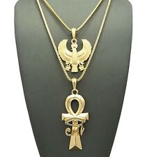 "EYE OF HERU ANKH CROSS HORUS BIRD PENDANT 2mm/24 &30"" BOX CHAIN NECKLACE RC1500"