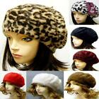 Classic Beret Angora Fur Hat Warm Soft Winter Spring Knitted Knit Leopard Animal