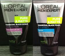 2x 100mL LOREAL MEN EXPERT Pure Matte ICY CHARCOAL SCRUB Face Wash Foam Cleanser