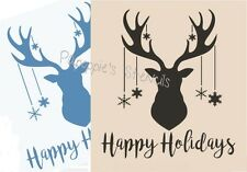 Stencil Happy Holidays Deer Head Snowflakes Buck for Signs~Crafts~Walls