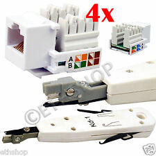 Ethernet RJ45 RJ11 RJ12 Phone Cable Punch Down Tool with 4X Keystone Jack New