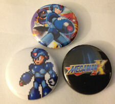 """Mega Man X  lot of 3 1"""" Pins Buttons Pinbacks Nintendo SNES Super rockman roll"""
