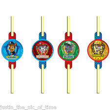 PAW PATROL Birthday Party DRINKING STRAWS & Decals x8 Rocky Rubble Chase