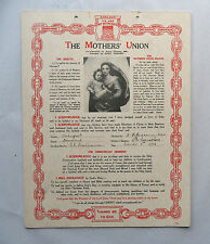 Rare 1930s Certificate. THE MOTHERS' UNION. Christian Pledge as Wife and Mother