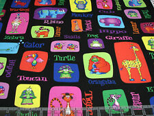 3 Yards Quilt Cotton Fabric - RJR Sue Marsh Jungle Things Animal Patches Black