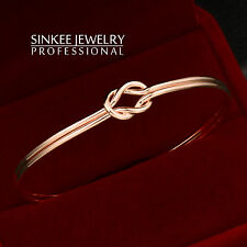 Women Fashion Cross Knot Bracelets Smooth Bangle Cuff No Stone 18K Rose Gold