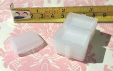 "Dollhouse Miniature Tiny White Plastic 1"" To-go Box Closeable 10pcs 1:12"