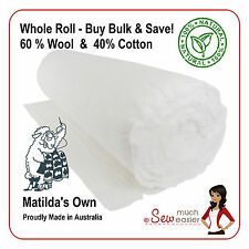 Wool Cotton Quilt Batting 30m Roll Matilda's Own Matildas Wadding Matilda quilts