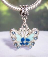 Blue Rhinestone Enamel Butterfly Dangle Bead for Silver European Charm Bracelets