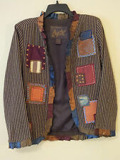 SHARON ANTHONY CREATED BY CRYSTAL Brown Multi-Color Patchwork Jacket Size S