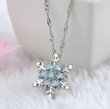 ICE BLUE CRYSTAL CZ CHRISTMAS SILVER SNOWFLAKE PENDANT NECKLACE