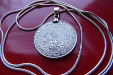 "Antique Mexican Fifty Centavos Coin Pendant on a 30"" 925 Silver Snake Chain"