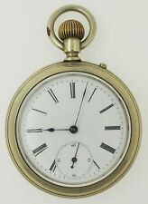 Vintage Longines Open Face 50mm Silver Tone Pocket Watch OF