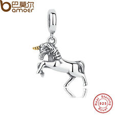 Retro S925 Sterling Silver Charm With Steed Horse Fit European Bracelet necklace