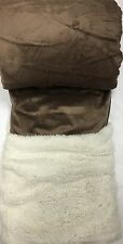 Queen Sherpa blanket Plush Faux Fur Taupe brown Winter blankets Borrego