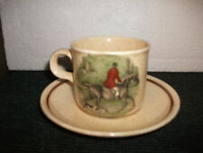 royal worcester palissy hunting scenes cup and saucer duo(e)