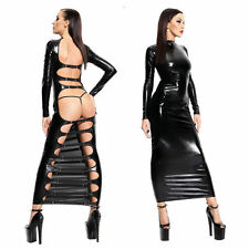 Sexy Women PVC look Black Faux Leather Gothic Fetish lingerie Bondage Long Dress