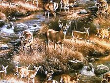 DEER UNKNOWN INTRUDER BUCKS WILDLIFE SCENIC on COTTON FABRIC Priced By The YARD