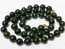 VINTAGE CHINESE NATURAL GREEN NEPHRITE JADE 8mm BEAD NECKLACE 14KGF CLASP