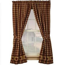 """CRANBERRY COUNTRY STAR 84"""" PANELS CURTAINS LINED SET OF 2"""
