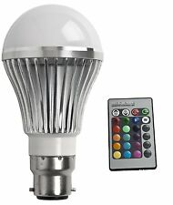 BC B22 REMOTE CONTROLLED COLOUR CHANGING LIGHT BULB LED LOW ENERGY SAVING 240v