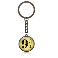 Harry HP Nine And Three Quarter 9 3/4 Pattern Time Gem Cabocho Key Chain