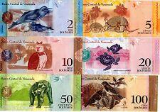LOT SET SERIE 6 BILLETS VENEZUELA  ANIMAUX DAUPHIN OISEAU TORTUE HIBOU UNC NEUF