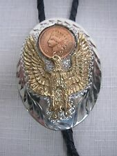 1980s WESTERN FLAIR BENNETT SILVER GOLD BOLO TIE w EAGLE with INDIAN HEAD PENNY
