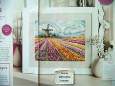 FIELD OF DREAMS VIBRANT TULIP FLOWERS + WINDMILL LANDSCAPE CROSS STITCH CHART