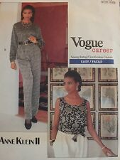 VTG 89 VOGUE ANNE KLEIN II 2436 MS/MP Tops Pants & Sash PATTERN 6-8-10 UC