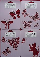 Stencil Set of 4 Butterflies Fairy Cat Kitten StenSource butterfly W9404 LE9333