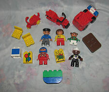 Lego Duplo Small Figure Lot - 5 Figures, Fire Fighter, Fire Truck, Motorcycle, +