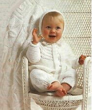 "Baby Layette Knitting Pattern Pram Cover Matinee Coat  Bonnet  DK 16-20"" 340."