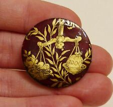 VINTAGE HAND ENAMELLED MAROON GOLD WEIGHT SCALES LEAVES HALF PENNY COIN BROOCH