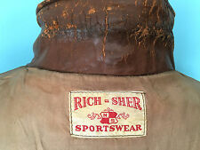 RICH-SHER SPORTSWEAR VINTAGE 1940s  HORSEHIDE ZIP UP BROWN LEATHER COAT MEDIUM