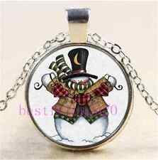 Christmas Snowman Photo Cabochon Glass Tibet Silver Chain Pendant NecklaceTJP126