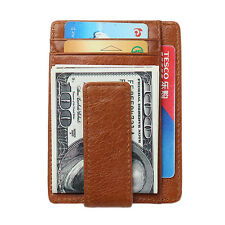 Men's Money Clip Front Pocket Wallet Leather RFID Blocking Magnet Thin Wallet
