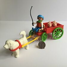 Playmobil Boy Child Dog Cart Pigs 5505 Victorian Mansion Dollhouse Farm Complete