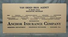 Vintage Advertising Ink Blotter: ANCHOR INSURANCE COMPANY CHICAGO ILLINOIS