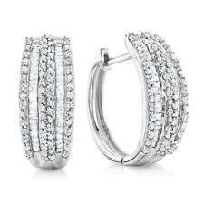 1.00 Carat Natural Diamond Hoop Earrings in Sterling Silver