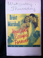 YOU CAN'T ESCAPE FOREVER 1942 ORIGINAL MOVIE POSTER 14X22