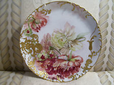 13.5 Inch Limoges Charger with Raised Gold Paste and Hand Painted Peonies