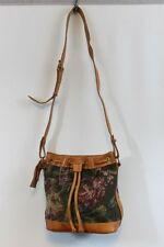 1980's Vintage POLO RALPH LAUREN Floral Tapestry & Leather Drawstring Bucket Bag