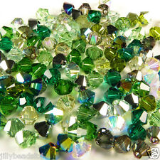 Swarovski 5328 Xilion Bicone Mixes 4mm Greens 100 beads