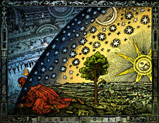 FLAMMARION ENGRAVING 1888, FLAT EARTH TRAVELLER LOOKS UNDER FIRMAMENT DOME (a3)