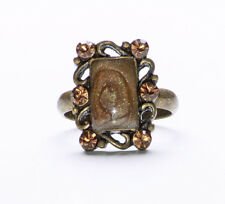 DARK GOLD METAL SETTING WITH SHIMMERY BROWN RECTANGLE GEM & DIAMANTES RING(ZX43)
