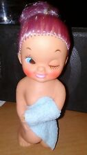 Vintage Rubber Doll with Towel Winking Made in Japan Retro 70's Purple Hair