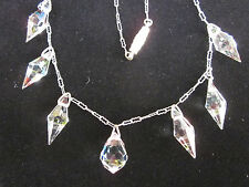 Art Deco Vintage Chain AB Crystal Briolette Dangle Drops NECKLACE Faceted