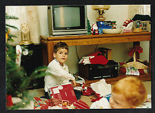 Vintage Photograph Little Boy Opening Christmas Gifts by Retro Television Set TV